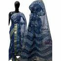 Ladies Cotton Blue Saree, Length: 6.3 M
