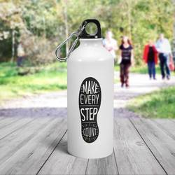White Aluminum Water Bottle - Customize Create Your Own