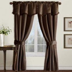 Brown Rod Pocket Decorative Cotton Curtain, Size: 7 Feet (Height)