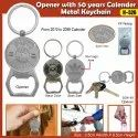 Opener with 50 Years Calendar Metal Keychain H-526