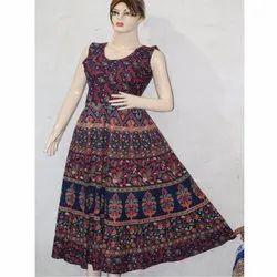 Ladies Jaipuri Print Cotton Frock