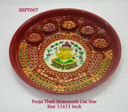 Pooja Thali Stonework Cut Size