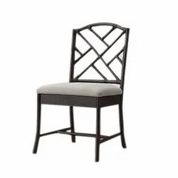 Black Rectangular Wrought Iron Dining Chair, for Restaurant