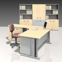 Plywood Single Pentagon Office Workstation
