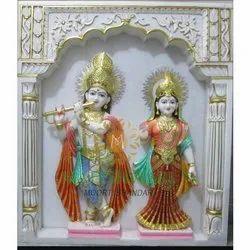 Radha Krishna White Marble Moorti