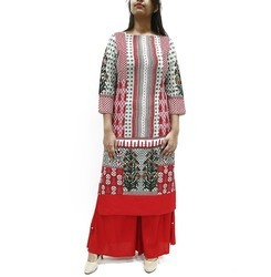 Womens Printed Straight Fit Long Kurta