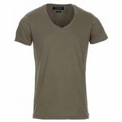 Cotton V Neck Half Sleeves T-Shirt, Size: Medium And XL