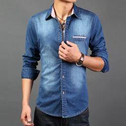 36-50 Plain Mens Faded Denim Shirts