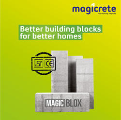Magicrete Rectangular Magic Blox Autoclaved Aerated Concrete Blocks, Partition Walls