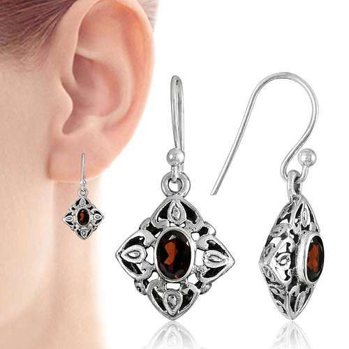 Pearl India International Antique Look 925 Sterling Silver Garnet Earrings Size 3 X 1 5