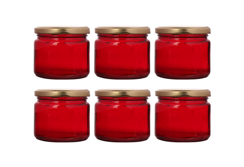 Set Of 6 Pcs Red Colored Round Glass Jar 150gm