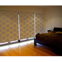 Vertical Printed Roller Fabric Blinds, Window