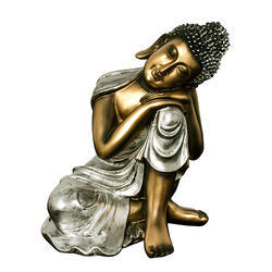 Antique Golden Look Resting Lord Budhha Statue Gift Item