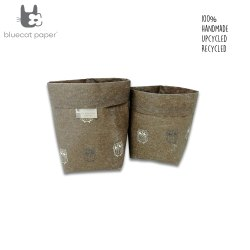 Linen stitch paper sacks - dark grey and cream white owls print (set of 2)