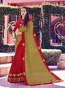Indian Women Chiffon Beige And Red Saree