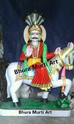 Painted White Marble Baba Ramdev Statue