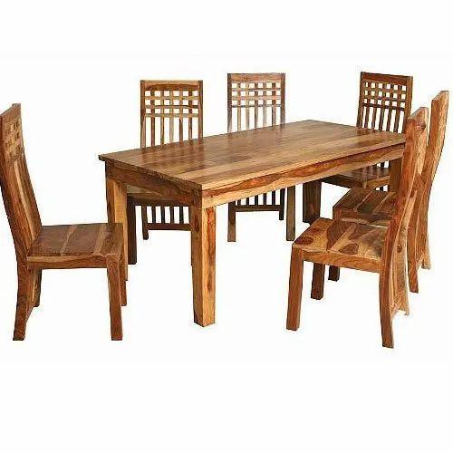 Rectangular 6 Seater Wooden Dining Table Set