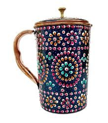 Copper Decorative Jug With Meena Work