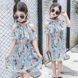 Cottoncollar Kids Neck Gray Off Shoulder Dress