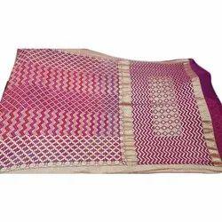 Party Wear Ladies Jamnagar Bandhej Printed Saree, 6.3m, Without blouse piece