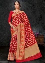 Art Silk Banarasi Silk Saree, Length: 6 m ((with blouse piece)