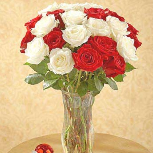 Red N White Roses Vase Flowers Mixed Flowers Gifts World