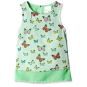Light Green Cotton Girls Sleeveless T-shirt