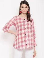 Pink Checks Short Kurti