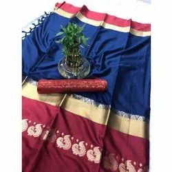 Party Wear Indian Silk Saree, 6.3 M (with Blouse Piece), Packaging Type: Packet