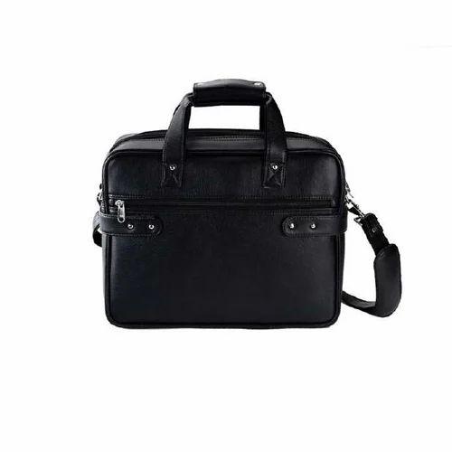 6efa6f4ae42d3 Plain Black Leather Laptop Bag, Rs 1179 /piece, UpTuber Solutions ...