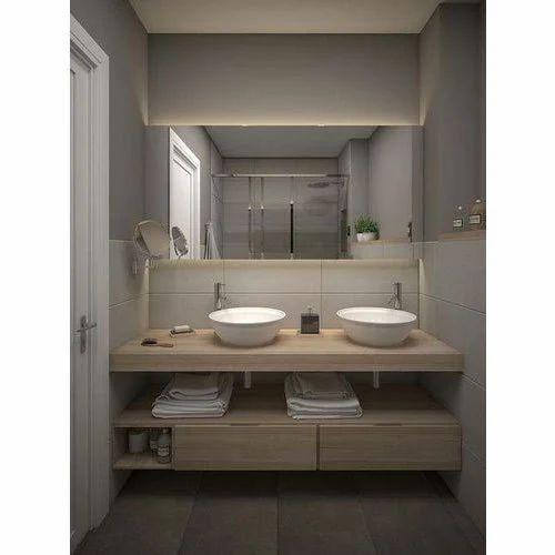 Cream Bathroom Wooden Vanity Rs 600