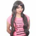 Women Fiber Synthetic Full Head Wig Maroon Black Hair