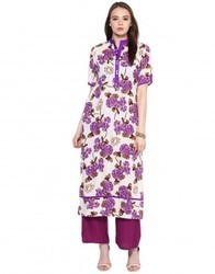White Cotton Floral Print Kurta