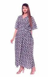 Women's Long Black & White Chevron Printed Indian Long Maxi Dress Kaftan