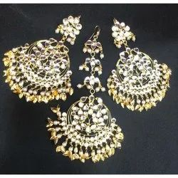 Traditional Party Designer Artificial Maang Tikka With Earrings Set
