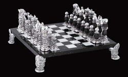 Antique Silver Chess Set