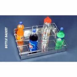 Silver Rectangular SS Sheet Bottle Basket, Packaging Type: Box