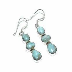 Larimar Gemstone Solid 925 Sterling Silver Earring For Women
