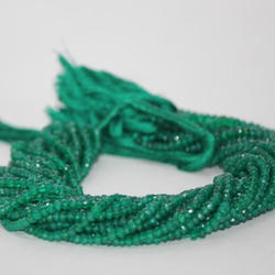 Natural Green Onyx Faceted Rondelle Beads 4mm
