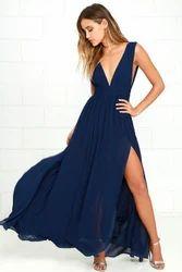 Plain Party Wear Chiffon Slit Side Prom Gown