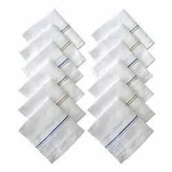 Striped Men's White Cotton Handkerchief