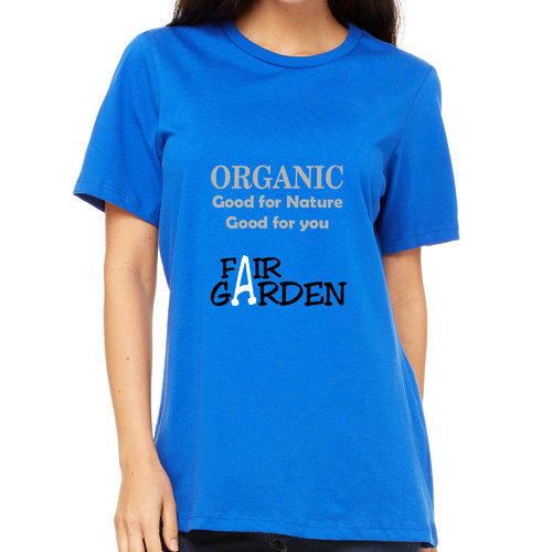 Blue Organic Cotton Printed Crew Neck T-Shirt, Size: XS And XL