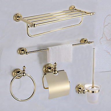 Afexports Brass Antique Wall Mounted Bathroom Accessory Set Rs