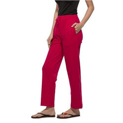 Fushia Red Womens Solid Pyjama