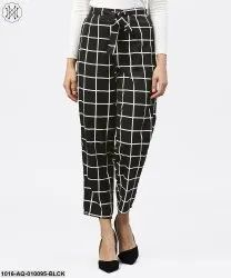 Aasi Black and White Checked Trouser, Size: Xs-Xxl