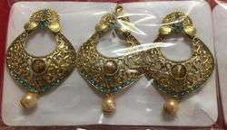 Pearl Dangling Artificial Earrings with Maang Tikka