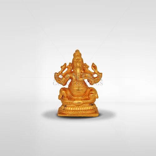 d99b60ea36f Mantra Golden Gold Plated Brass Ganesh Statue