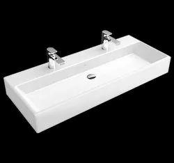 Surface Mount Rectangular Memento Countertop Double Ceramic Wash Basin, For Bathroom