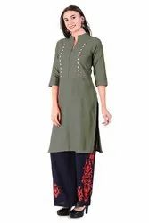 DOUBLE SIDE BUTTON KURTI (GREY)