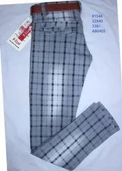Kids Cotton Check Printed Jeans